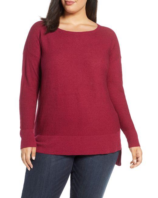 Eileen Fisher Red Bateau Neck Organic Linen Blend Sweater