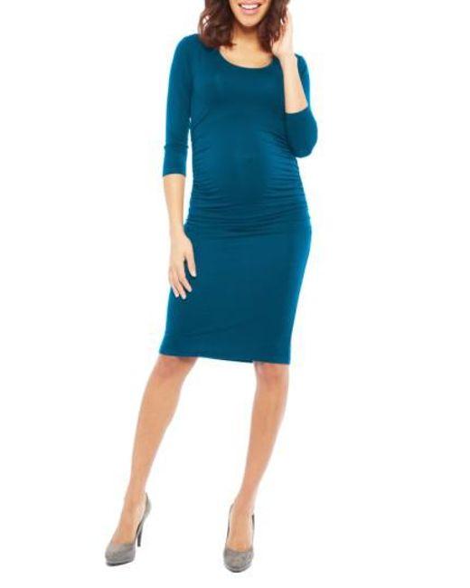 Nom Maternity - Blue Nom 'ellie' Ruched Maternity Dress - Lyst