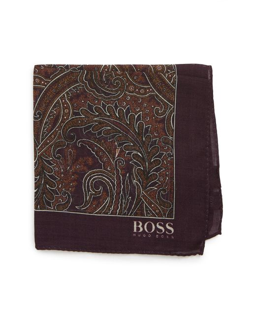 BOSS - Purple Paisley Wool & Silk Pocket Square for Men - Lyst