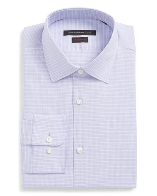 Lyst john varvatos regular fit stretch check dress shirt for How to stretch a dress shirt