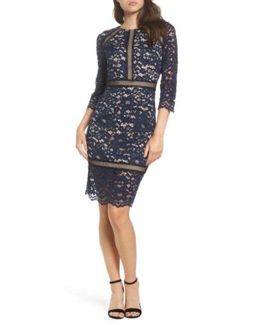 Vince Camuto | Blue Lace Sheath Dress | Lyst