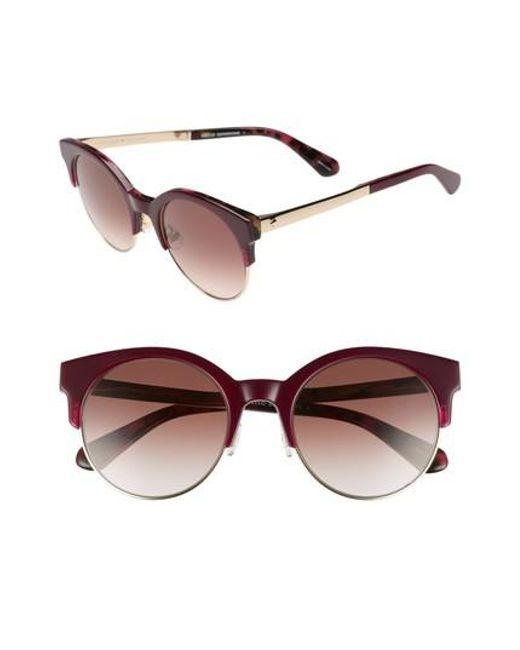 Kate Spade - Brown Kaileen 52mm Semi-rimless Cat Eye Sunglasses - Burgundy Havana - Lyst