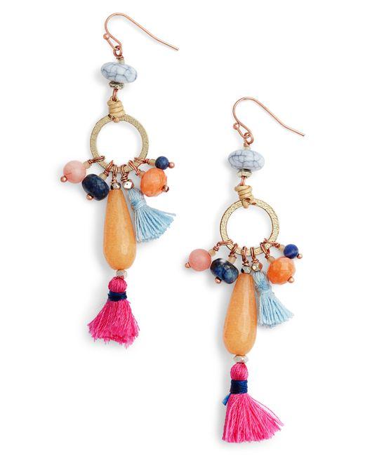 Nakamol - Multicolor Stone & Tassel Drop Earrings - Lyst