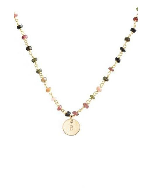 Nashelle | Multicolor 14k-gold Fill Mini Initial Disc Tourmaline Chain Necklace | Lyst