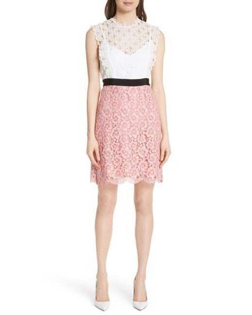 Sandro - Pink Mixed Lace Dress - Lyst