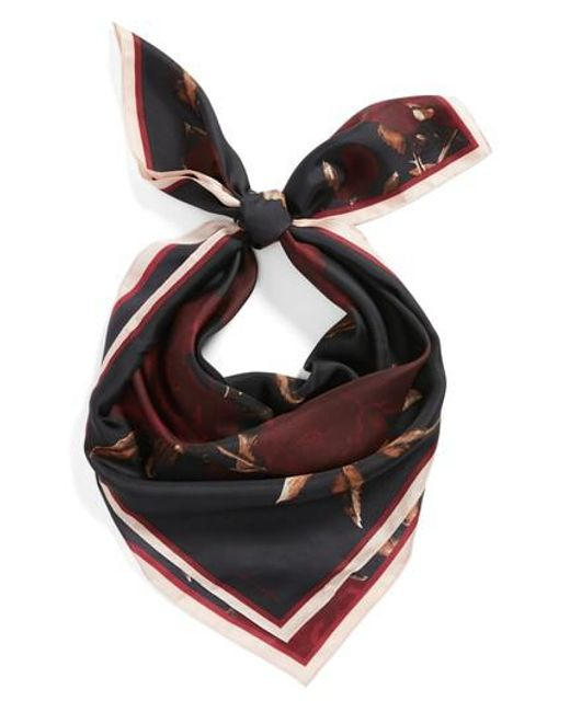 Vince Camuto   Black Sepia Rose Square Silk Scarf   Lyst