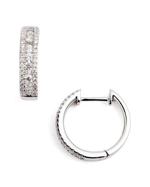 Bony Levy Metallic Amara Small Diamond Hoop Earrings Nordstrom Exclusive Lyst