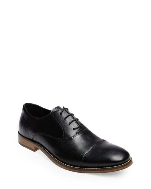 Steve Madden Men's Finnich Textured Cap Toe Oxford