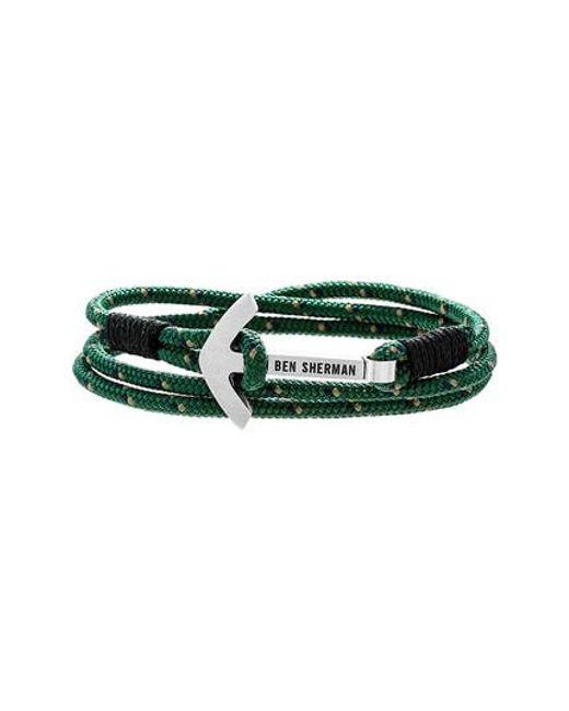 Ben Sherman   Green Anchor Braided Cord Bracelet for Men   Lyst