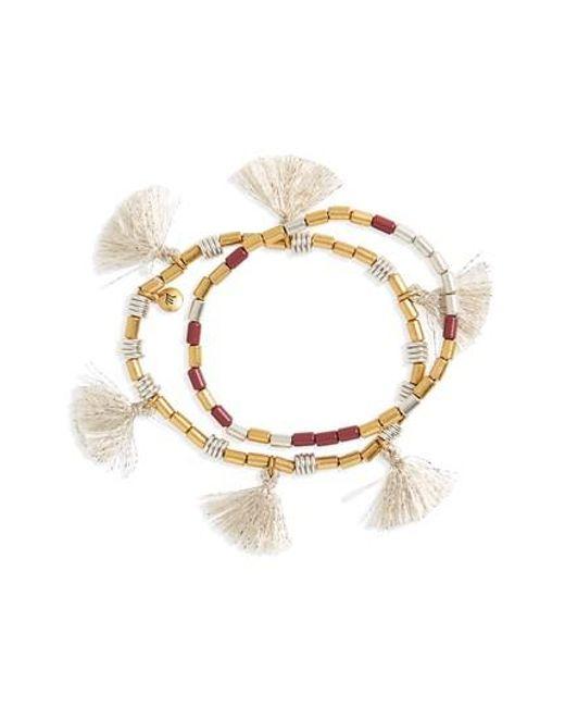 Madewell | Metallic Set Of 2 Beaded Tassel Bracelets | Lyst