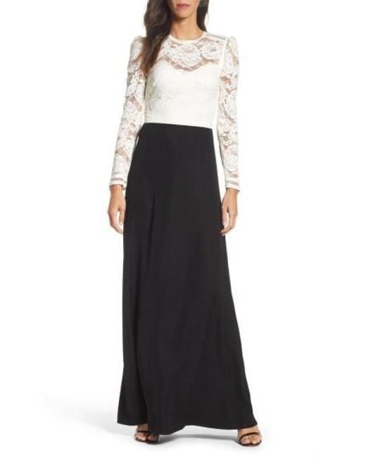 Tadashi Shoji | Black Lace & Crepe Gown | Lyst