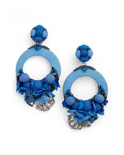 Ranjana Khan - Blue Posie Large Drop Earrings - Lyst