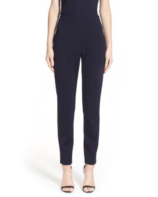 St. John | Blue Alexa Stretch-Knit Pants  | Lyst