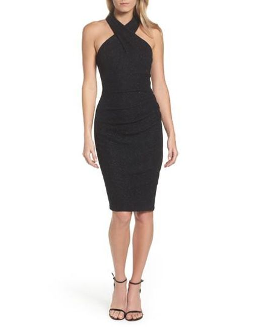Eliza J | Black Glitter Halter Neck Sheath Dress | Lyst