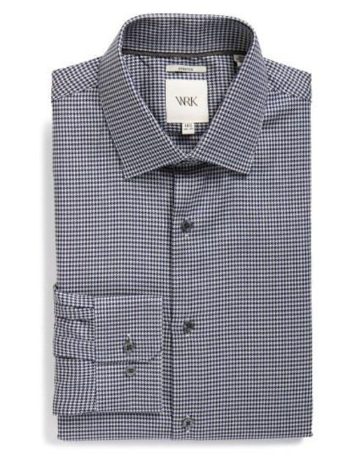 W.r.k. - White Extra Trim Fit Stretch Houndstooth Dress Shirt for Men - Lyst