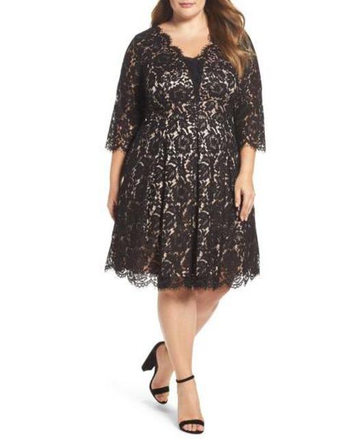 Eliza J   Black Lace Fit & Flare Dress   Lyst