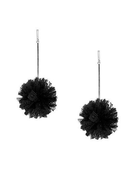 Tuleste - Black Lace Pom Pom Earrings - Lyst