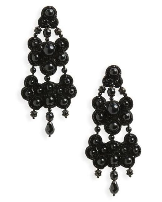Tory burch Leather Backed Chandelier Earrings in Black - Save 2 ...