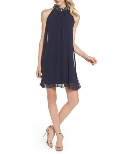 Vince Camuto | Blue Beaded Collar Trapeze Dress | Lyst
