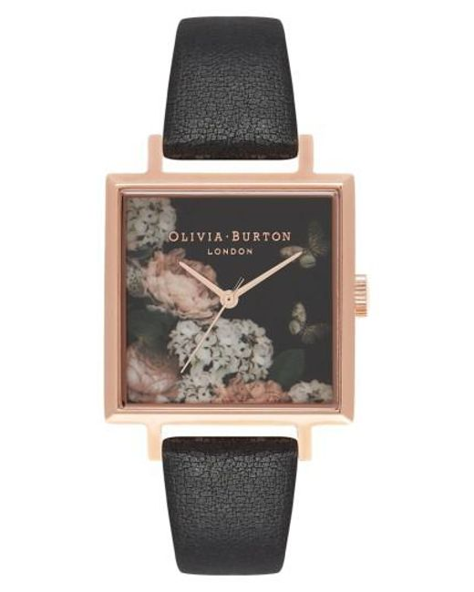 Olivia Burton - Multicolor Signature Floral Big Square Leather Strap Watch - Lyst