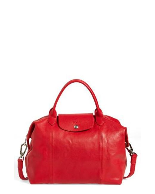 Longchamp   Red Le Pliage Cuir Leather Tote    Lyst