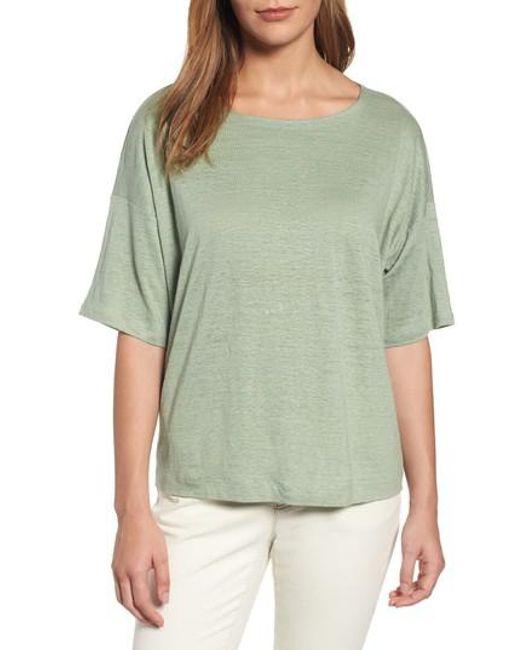 Eileen Fisher | Green Organic Linen Jersey Boxy Top | Lyst