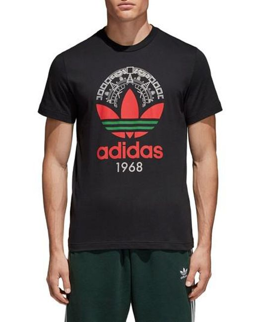 Adidas Originals - Black Trefoil T-shirt for Men - Lyst