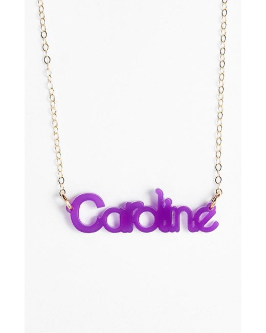 Moon & Lola - Purple 'zebra Block Font' Personalized Nameplate Pendant Necklace - Lyst