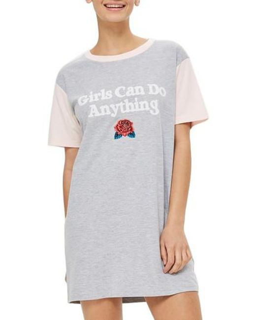TOPSHOP - Gray Girls Can Do Anything Sleep Shirt - Lyst
