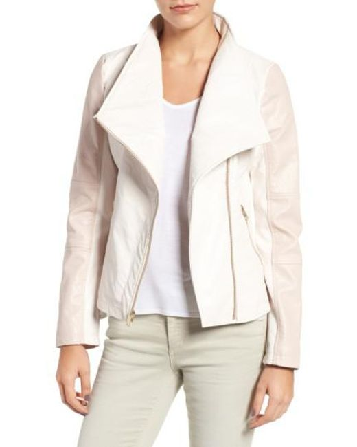 Guess - White Asymmetrical Faux Leather Jacket - Lyst