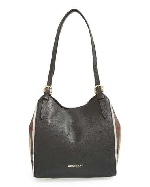 Burberry | Black 'small Canter' House Check & Leather Tote | Lyst