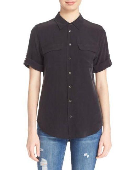 Equipment | Black Slim Signature Short Sleeve Silk Shirt | Lyst