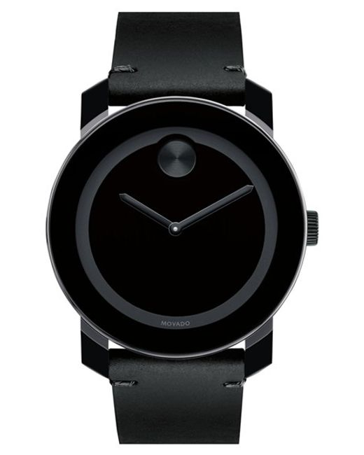 Movado | Black 'bold' Leather Strap Watch for Men | Lyst