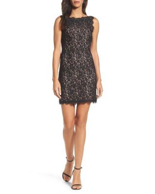 Adrianna Papell - Black Boatneck Lace Sheath Dress - Lyst