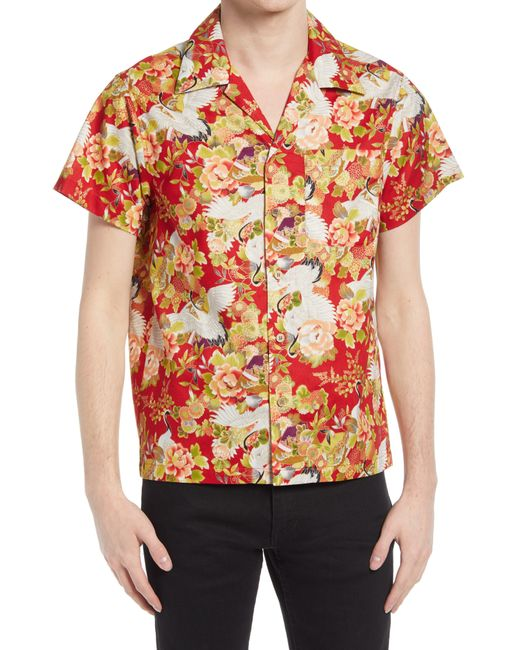 Naked & Famous Red Naked & Famous Aloha Short Sleeve Button-up Shirt for men