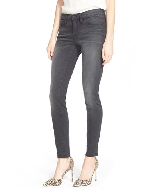 FRAME | Gray 'le Skinny' Sateen Skinny Jeans | Lyst