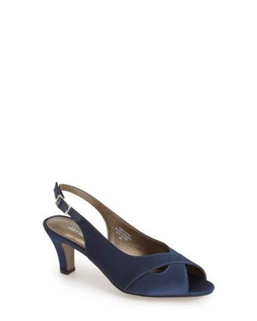 David Tate | Blue 'palm' Slingback Satin Sandal | Lyst