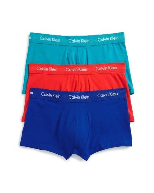 Calvin Klein | 3-pack Stretch Cotton Low Rise Trunks, Blue for Men | Lyst