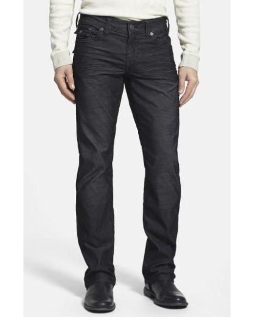 True Religion | Black 'ricky' Relaxed Straight Leg Corduroy Pants for Men | Lyst
