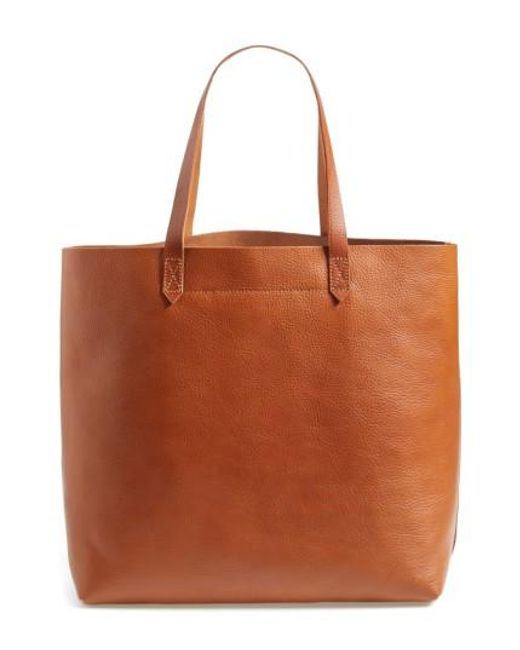Madewell | Brown 'the Transport' Leather Tote | Lyst