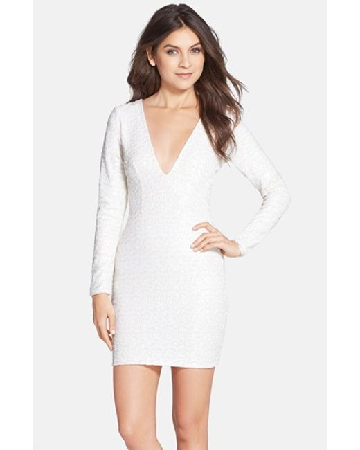 Dress the Population | White 'bridget' Sequin V-neck Body-con Dress | Lyst