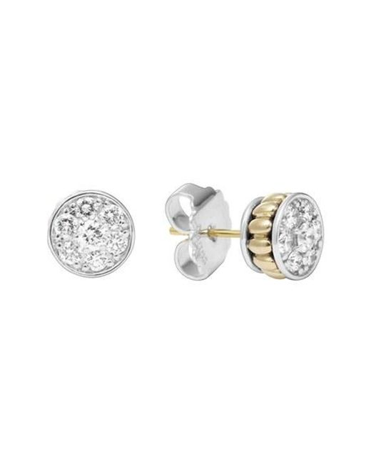 Lagos | Metallic Diamond & Caviar Stud Earrings | Lyst