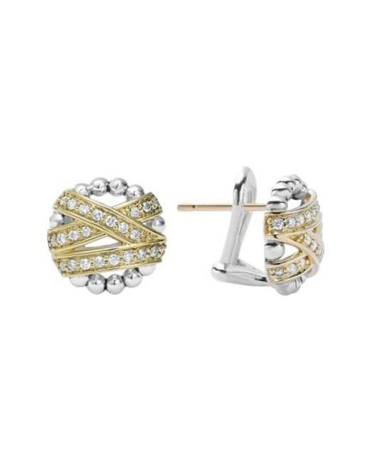 Lagos | Metallic 'diamonds & Caviar' Diamond Stud Earrings | Lyst