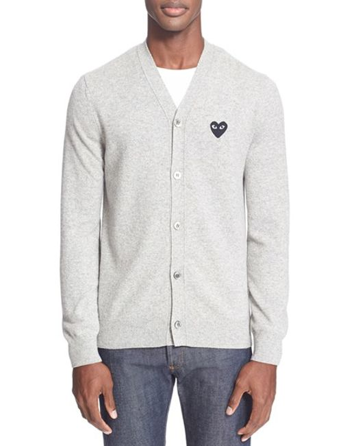 Comme des Garçons | Gray Play Lambswool Cardigan for Men | Lyst