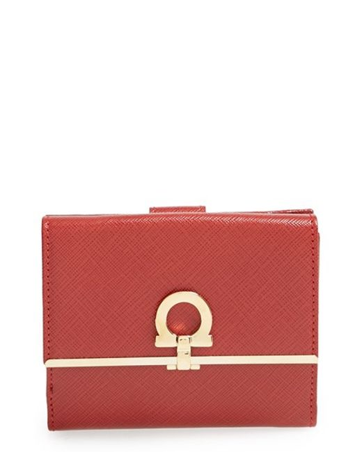 Ferragamo | Red 'french Icona' Saffiano Calfskin Leather Wallet | Lyst