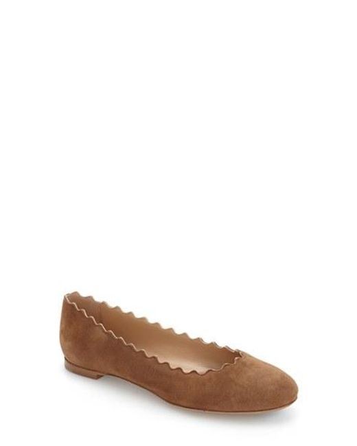 Chloé | Brown Lauren Suede Scallop Flats - Army Green | Lyst
