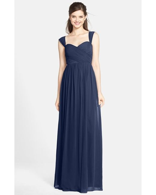 Jenny Yoo | Blue 'leah' Convertible Chiffon Gown | Lyst