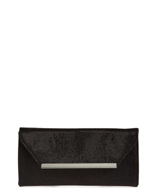 Glint | Black Metallic Envelope Clutch | Lyst