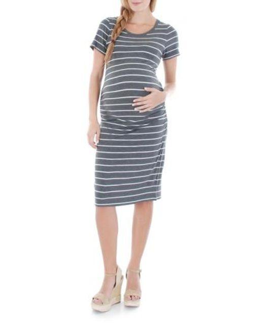 Everly Grey | White Camila Striped Jersey Maternity Dress | Lyst