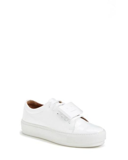 Acne | White 'adriana' Leather Sneaker | Lyst